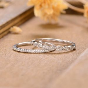 2pcs solid 925 silver wedding bands stackable ring